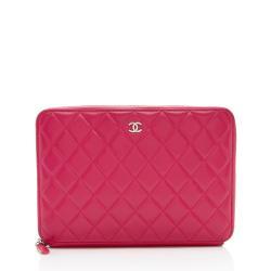 Chanel Lambskin Zip Around Organizer Large Wallet