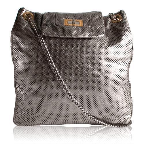 Chanel Large Drill Perforated Metallic Shoulder Handbag