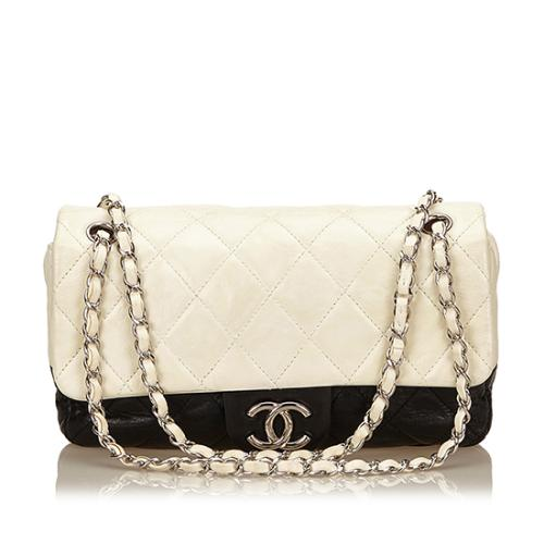 Chanel Distressed Leather Two-Tone Medium Flap Shoulder Bag