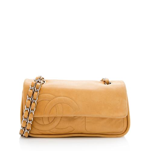 Chanel Leather Diagonal CC Flap Shoulder Bag