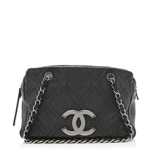 Chanel Leather Diamond Stitched Outdoor Ligne Tote
