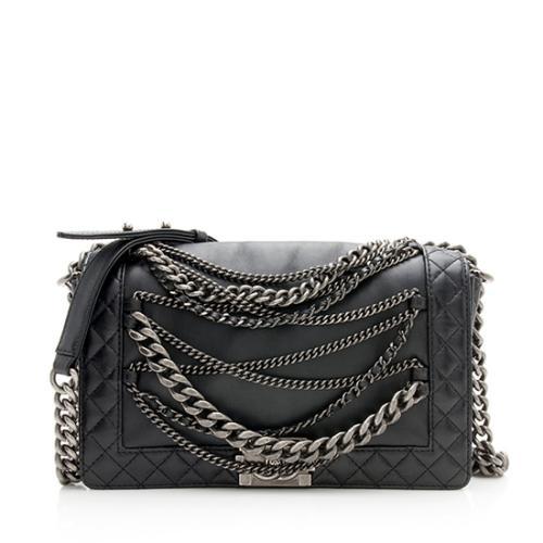 Chanel Leather Enchained Medium Boy Bag