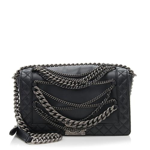 Chanel Leather Enchained Medium Boy Bag