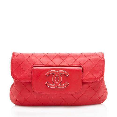 Chanel Leather Hamptons CC Folding Clutch
