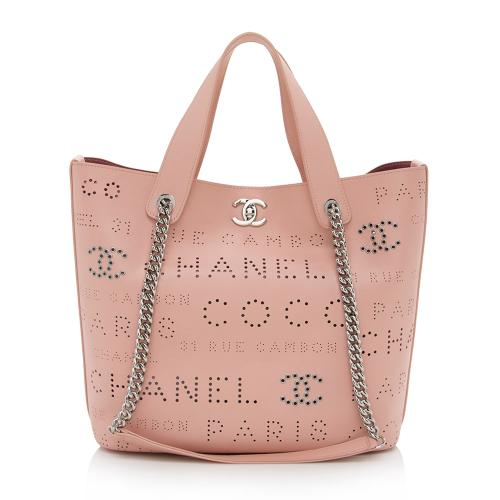 Chanel Leather Logo Eyelets Small Shopping Tote