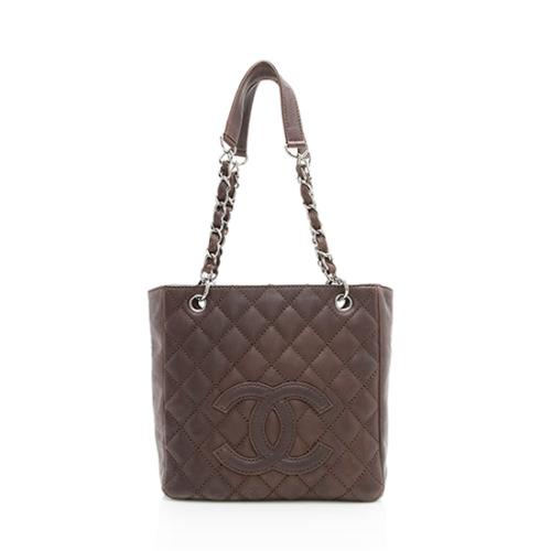 80c4053b5ce0 Chanel Leather Petite Shopping Tote
