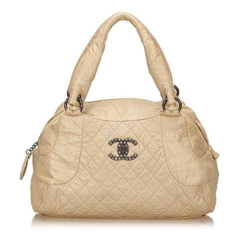 Chanel Distressed Quilted Lambskin CC Bowling Bag