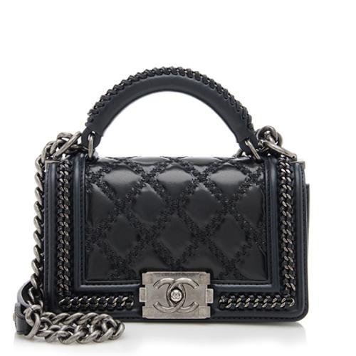 Chanel Paris-Salzburg Leather Small Top Handle Boy Bag