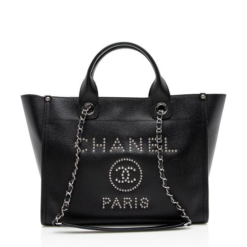Chanel Leather Studded Deauville Small Tote