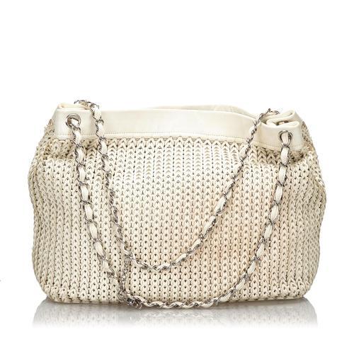 Chanel Leather Woven Shoulder Bag