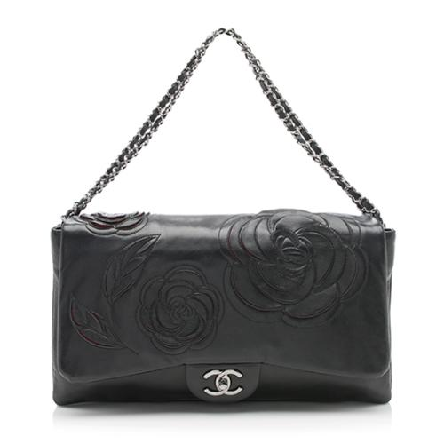 Chanel Lambskin Tweed Petals Camellia Maxi Flap Bag - FINAL SALE