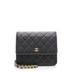 Chanel Logo Calfskin Square Wallet on Chain Bag