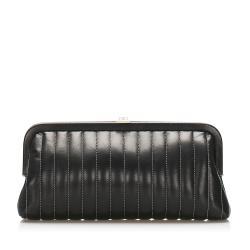 Chanel Mademoiselle Stitch Lambskin Leather Clutch Bag