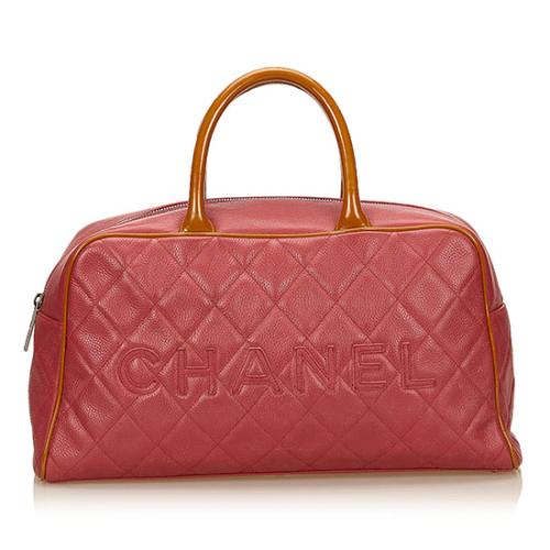 Chanel Caviar Leather Logo Bowler Large Satchel