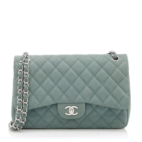 Chanel Suede Caviar Leather Classic Jumbo Double Flap Bag - FINAL SALE