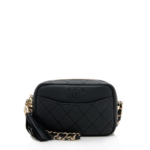 Chanel Matte Caviar Leather Coco Tassel Mini Camera Bag