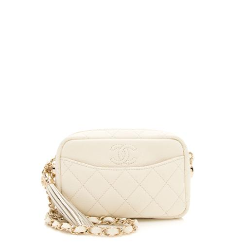 Chanel Matte Caviar Leather Coco Tassel Mini Camera Case