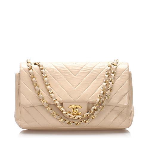 Chanel Lambskin Chevron Medium Double Flap Bag