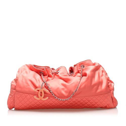 Chanel Melrose Cabas Satin Shoulder Bag