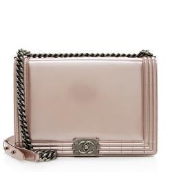 Chanel Metallic Glazed Calfskin Large Boy Bag