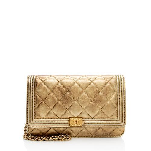 Chanel Metallic Lambskin Boy Wallet on Chain Bag
