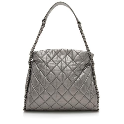 Chanel Metallic Leather Chain Around Medium Hobo