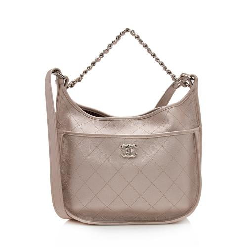 Chanel Metallic Leather Jungle Stroll Medium Hobo