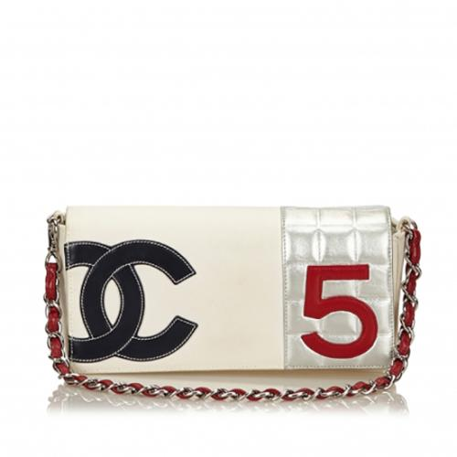Chanel Canvas Leather No. 5 Chain Flap Bag
