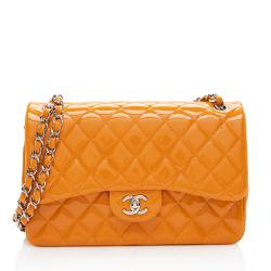 Chanel Patent Leather Classic Jumbo Double Flap Shoulder Bag