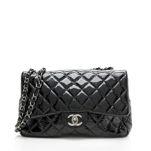 Chanel Patent Leather Classic Jumbo Single Flap Shoulder Bag