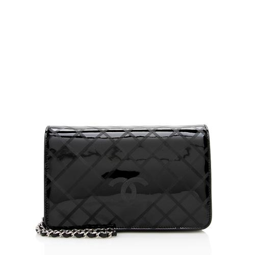 Chanel Patent Leather Diamond CC Wallet on Chain Bag