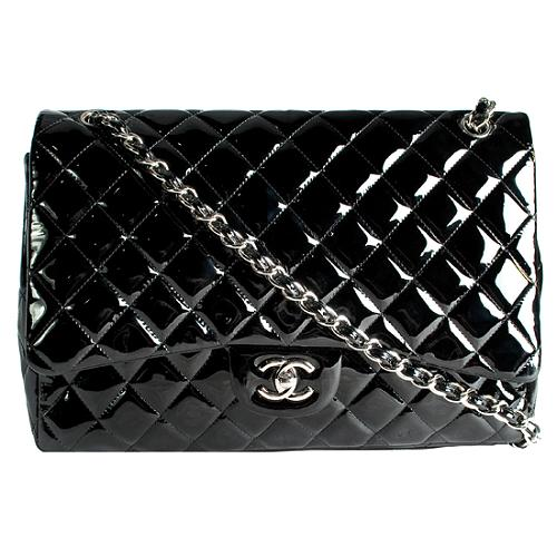 Chanel Patent Leather Jumbo Classic 2.55 Quilted Flap Shoulder Handbag