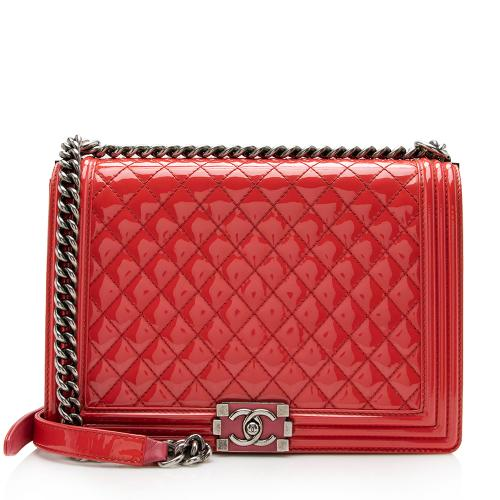 Chanel Patent Leather Large Boy Bag