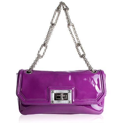 Chanel Patent Leather Mademoiselle Jewelry Chain Flap Handbag