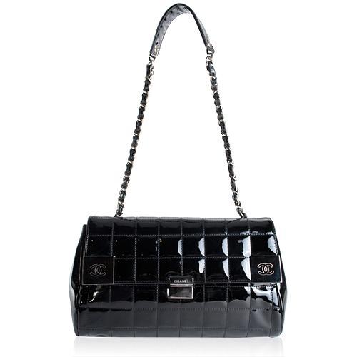 Chanel Patent Leather Quilted Shoulder Handbag