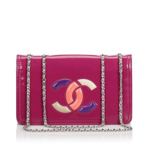 Chanel Patent Leather  Lipstick Flap Bag