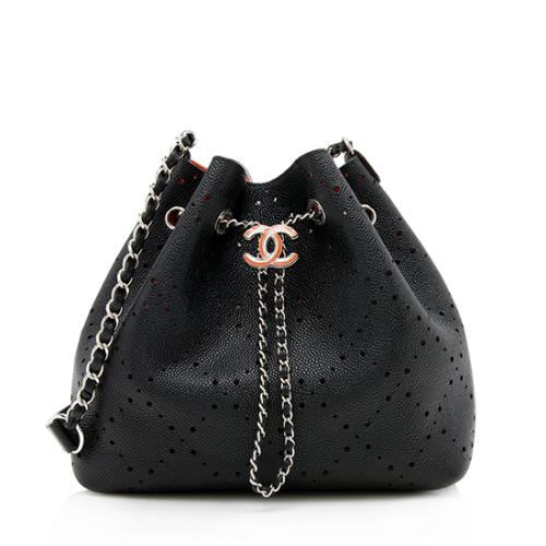bc3e9f47b Chanel Perforated Caviar Leather Drawstring Bucket Bag