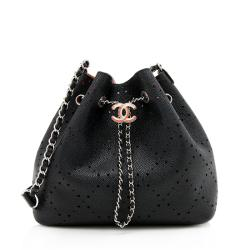 Chanel Perforated Caviar Leather Drawstring Bucket Bag