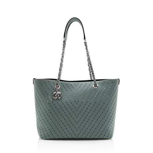 Chanel Perforated Leather CC Shopping Tote