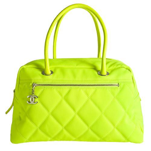 Chanel Quilted Canvas Satchel Handbag