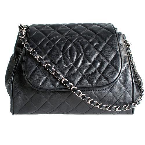 Chanel Quilted Caviar Accordion Flap Shoulder Handbag
