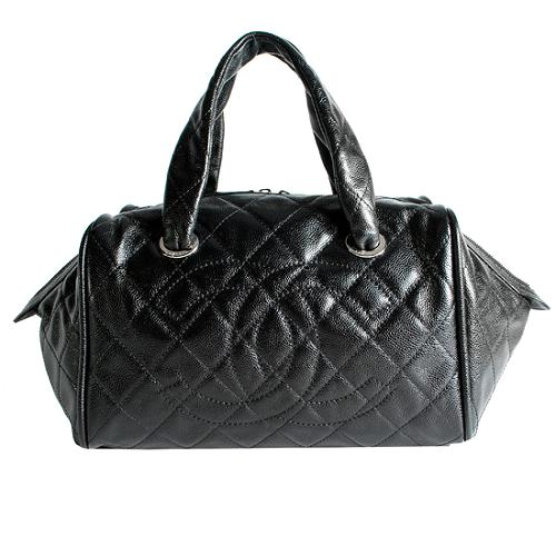 Chanel Quilted Caviar Leather Bowler Satchel