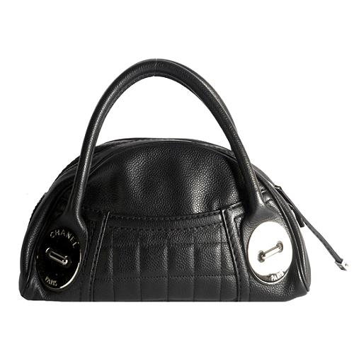 Chanel Quilted Caviar Leather Domed Satchel Handbag