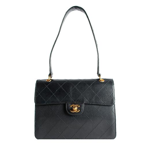 Chanel Quilted Caviar Leather Flap Satchel Handbag
