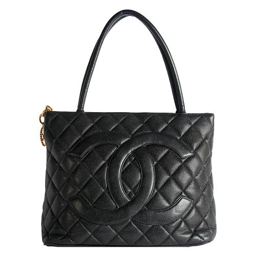 Chanel Quilted Caviar Leather Medallion Tote