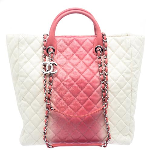 Chanel Quilted Caviar Ombre Shopping Tote