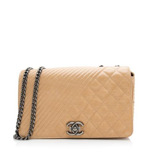 Chanel Quilted Glazed Calfskin Coco Boy Medium Flap Bag