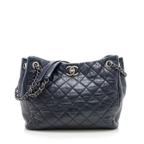 Chanel Quilted Glazed Leather CC Tote