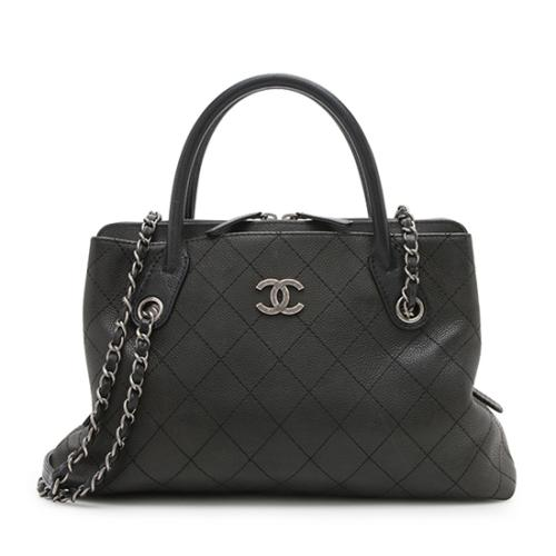 Chanel Quilted Grained Vegetal Calfskin Urban Zip Shopping Tote