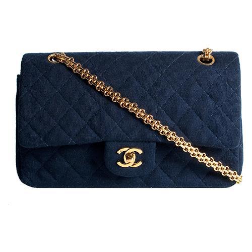 Chanel Quilted Jersey Flap Shoulder Handbag